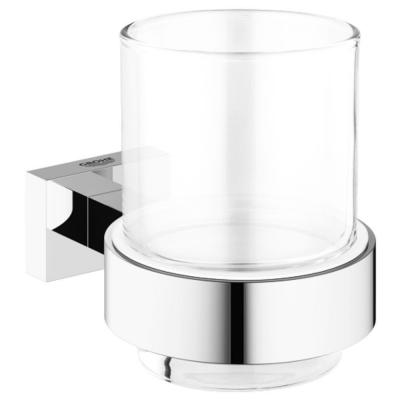 Essentials Cube Wall-Mounted Crystal Glass Cup with Holder in StarLight Chrome