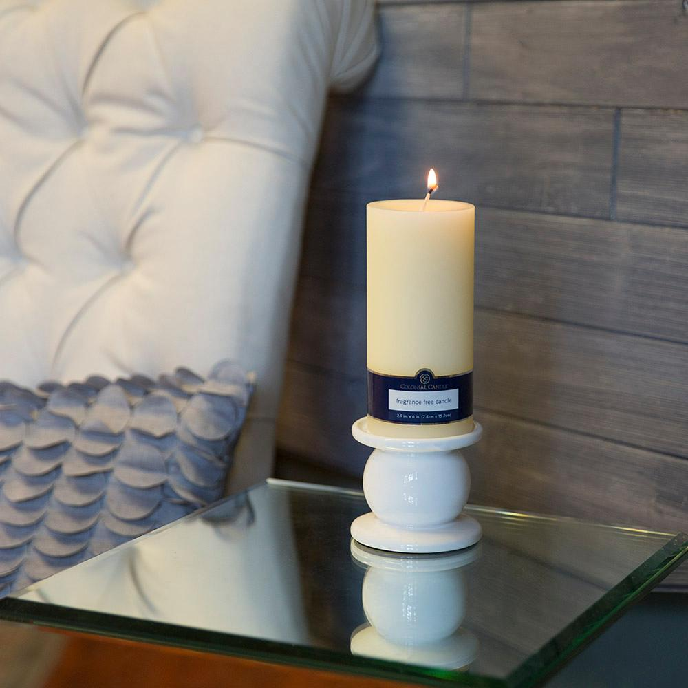 Ivory 3 in. x 6 in. Unscented Pillar Candles (Set of