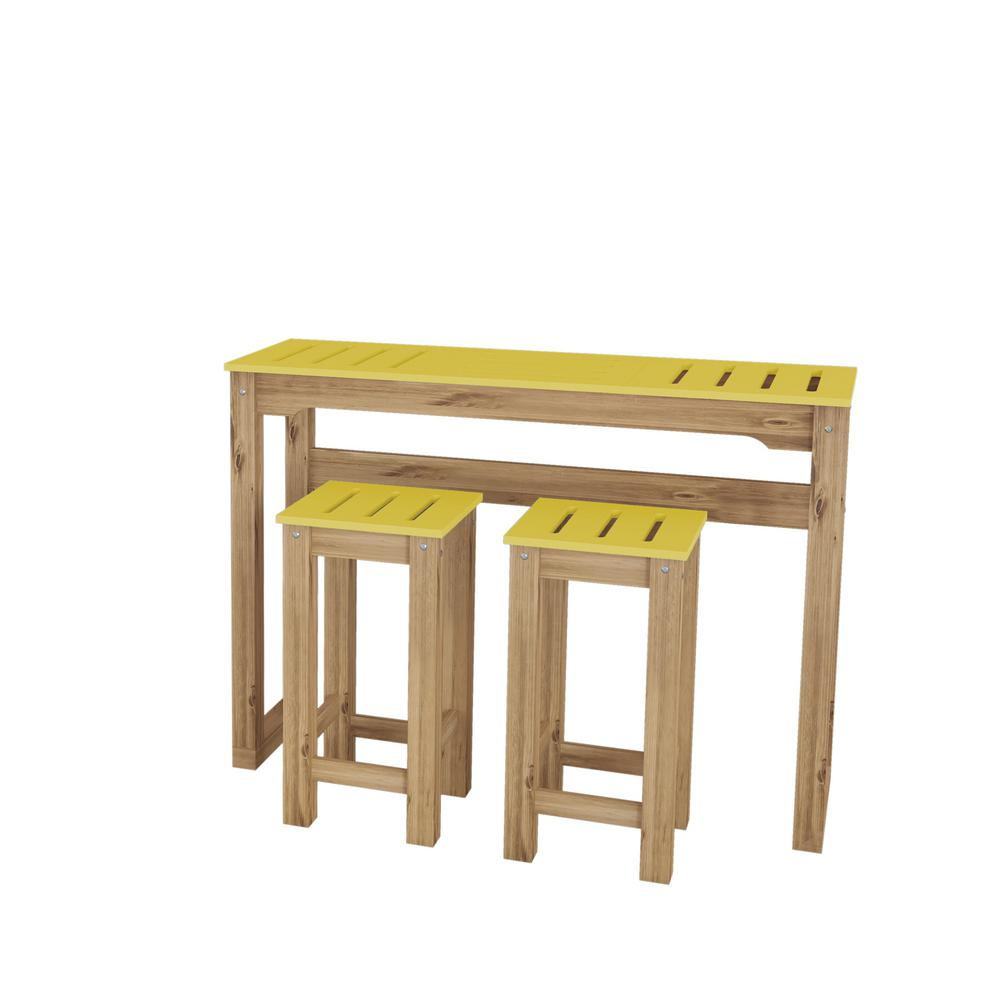 Manhattan comfort stillwell 47 3 in 3 piece yellow and natural wood bar kitchen set css702 the home depot