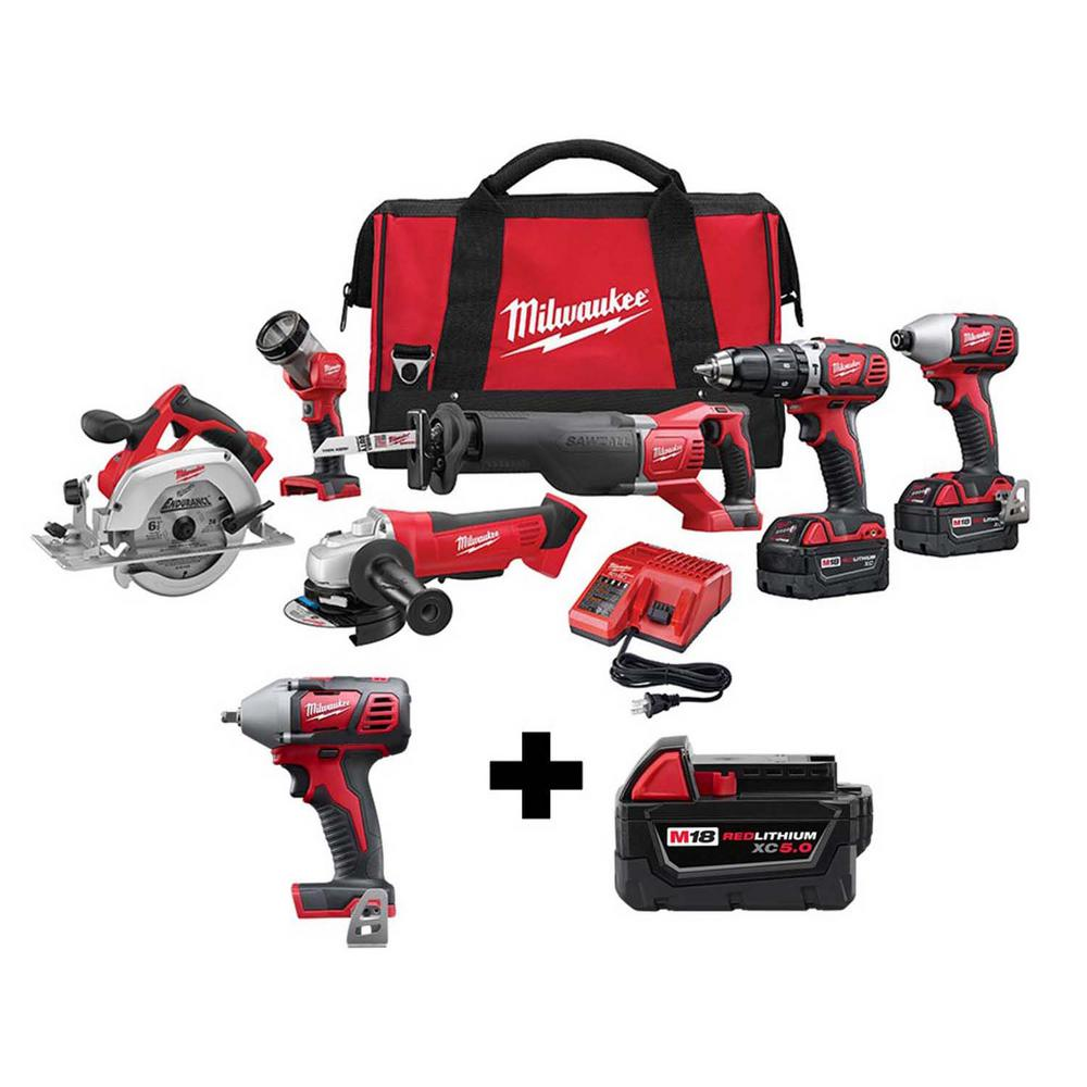 Milwaukee M18 18-Volt Lithium-Ion Cordless Combo Tool Kit (6-Tool) with Free 3/8 in. Impact Wrench and 5.0 Ah Battery was $977.0 now $599.0 (39.0% off)