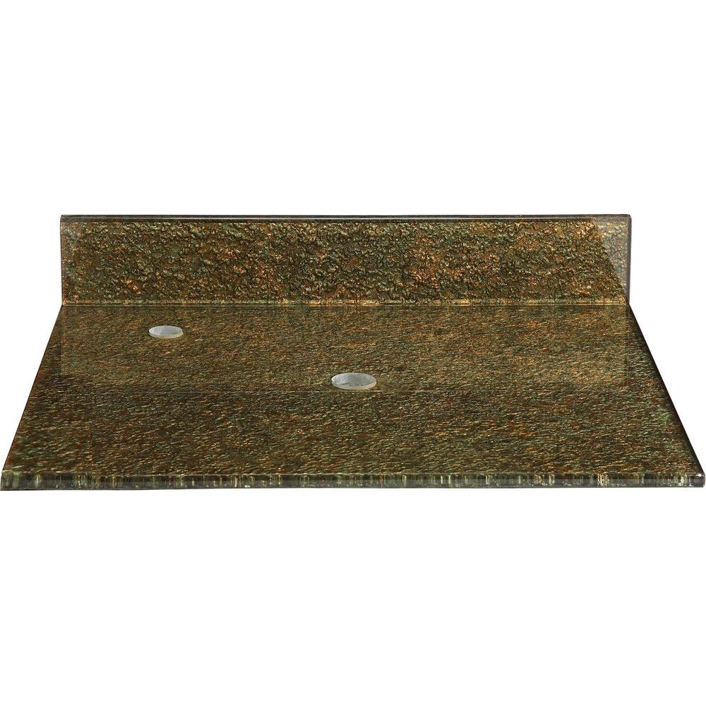 Hembry Creek Reflex Storm 31 in. Tempered Glass Vanity Top in Green Gold without Basin