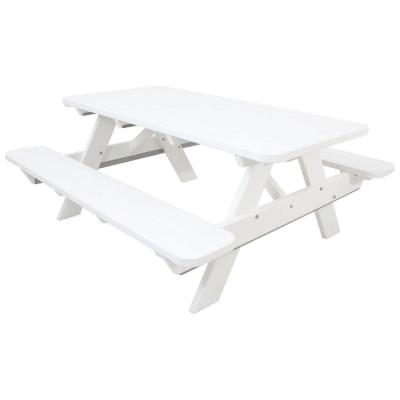 Classics 6 ft. White Patio Picnic Table