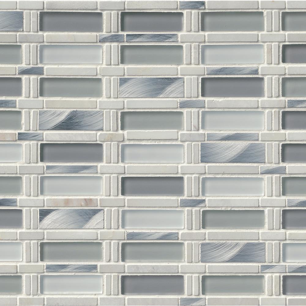 MSI Icelandic Blend Pattern 12 in. x 12 in. x 8mm Glass Metal Stone Mesh-Mounted Mosaic Tile