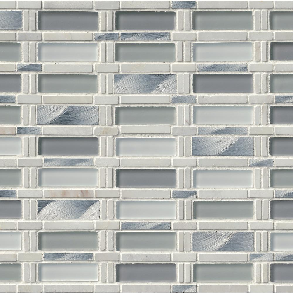 Msi icelandic blend pattern 12 in x 12 in x 8 mm glass for Installing glass tile with mesh back