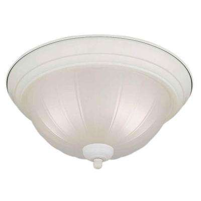 2-Light White Flush Mount with Fluted Satin Etched Glass