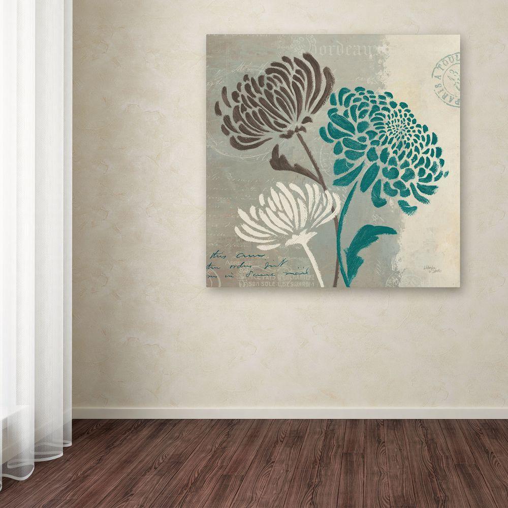 "18 in. x 18 in. ""Chrysanthemums II"" by Wellington Studio Printed Canvas Wall Art"