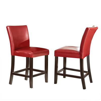 24 in. Matinee Red Counter Chair (Set of 2)