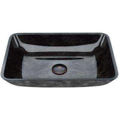 Onyx Handmade Countertop Glass Rectangle Vessel Bathroom Sink in Gray Onyx
