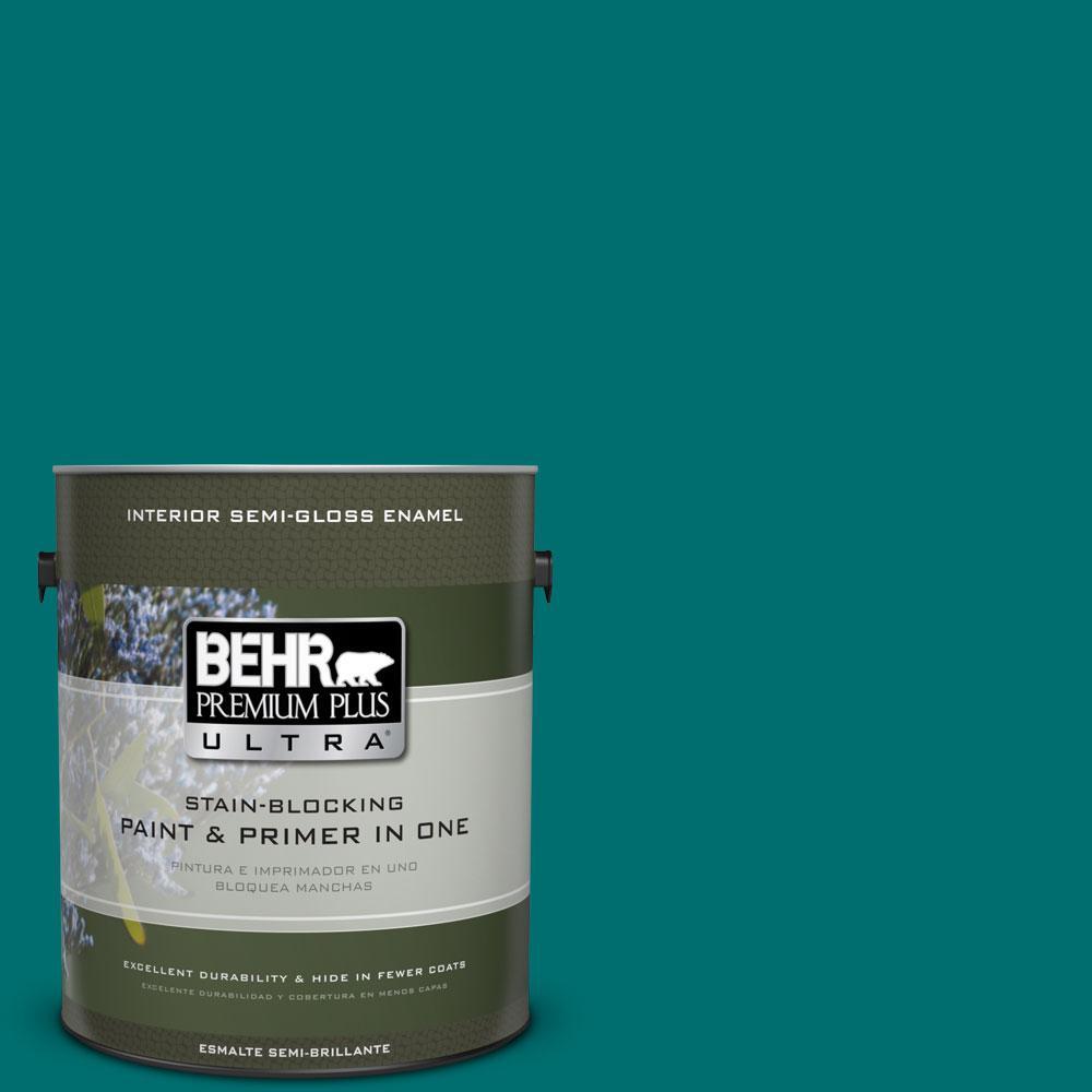 BEHR Premium Plus Ultra 1-gal. #P460-7 Caribbean Current Semi-Gloss Enamel Interior Paint