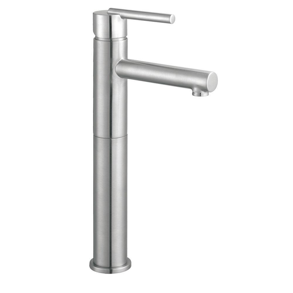 Design House Geneva Single Hole Single-Handle Vessel Bathroom Faucet in Satin Nickel