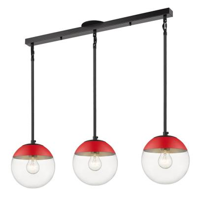 Dixon Linear Pendant in Black with Clear Glass and Red Cap