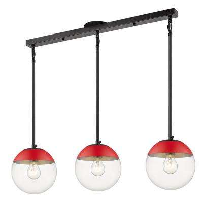 Dixon 3-Light Linear Pendant in Black with Clear Glass and Red Cap
