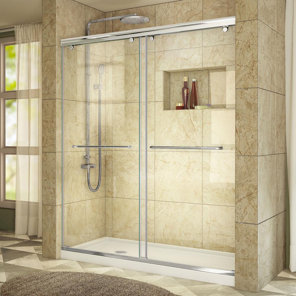DreamLine Charisma 32 in. x 60 in. x 78.75 in. Semi-Frameless Sliding Shower Door in Chrome and Right Drain White Acrylic Base