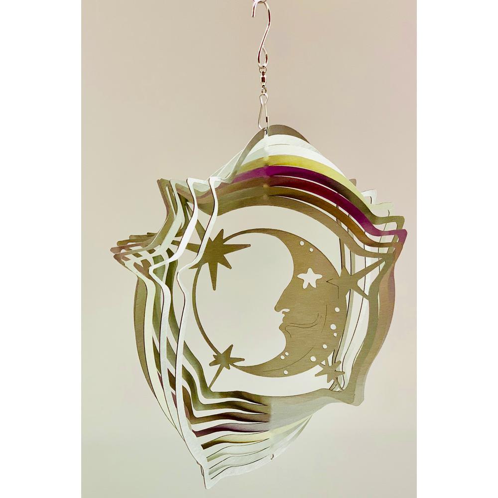 Falkirk Wind 12 in. Stainless Steel Wind Spinner  Mandala Moon Stars in Silver