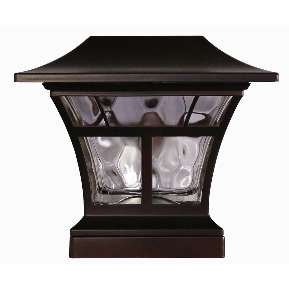 Hampton bay solar powered outdoor mediterranean bronze integrated hampton bay solar powered outdoor mediterranean bronze integrated led 3000k warm white landscape post cap light aloadofball Image collections