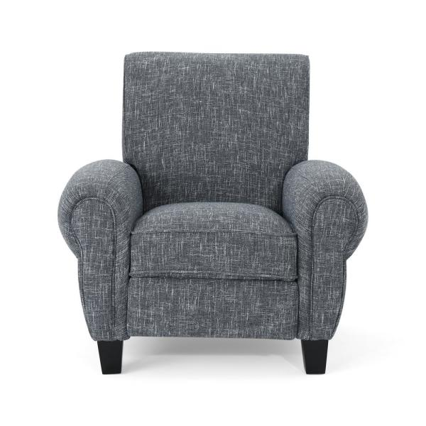 Noble House Del Monte Traditional Twill Gray Fabric Push Back Recliner