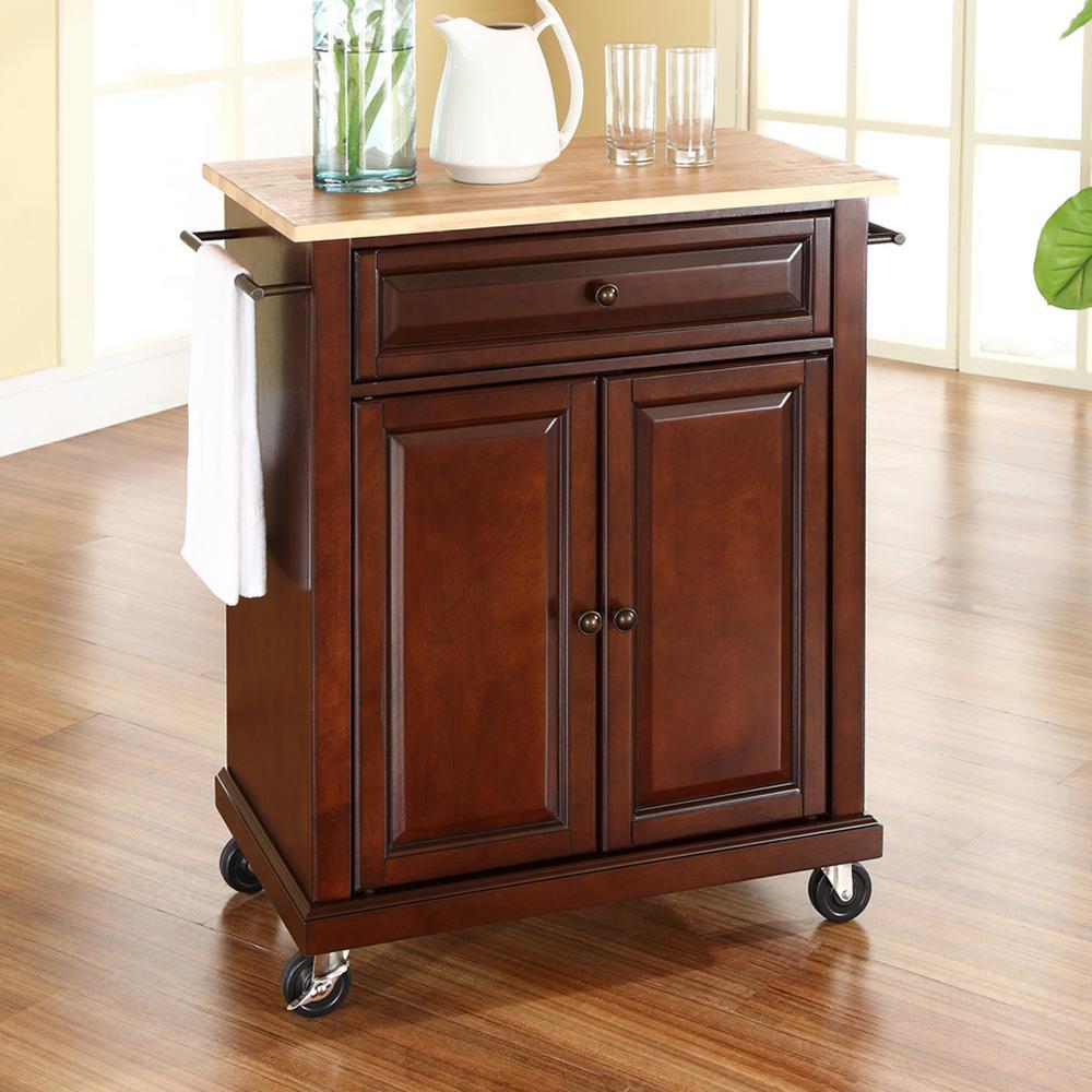 Crosley Mahogany Kitchen Cart With Natural Wood Top KF30021EMA