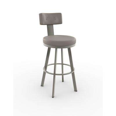 Tower 30 in. Matt Light Grey Metal Warm Grey Polyurethane Barstool