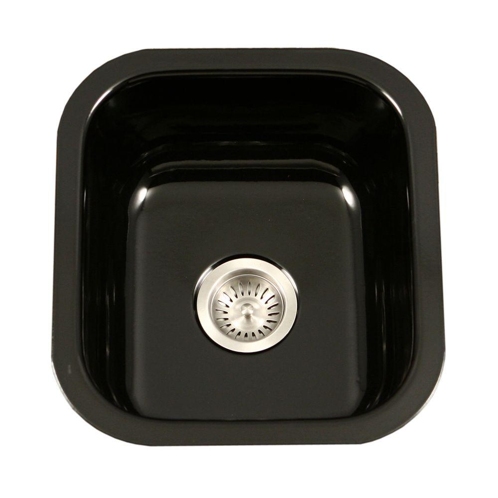 Porcela Series Undermount Porcelain Enamel Steel 16 In. Single Bowl Kitchen