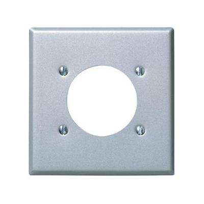 2-Gang Standard Size with 2.15 in. Dia Hole and Power Outlet Wall Plate in Stainless Steel