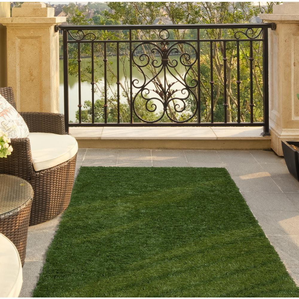 Ottomanson Garden Grass Collection 2 Ft. X 5 Ft. Artificial Grass Synthetic  Lawn Turf