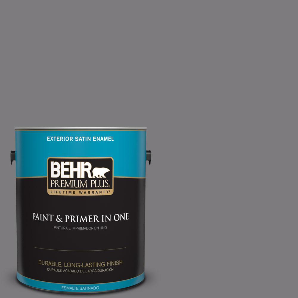 1-gal. #BXC-58 Stormy Gray Satin Enamel Exterior Paint
