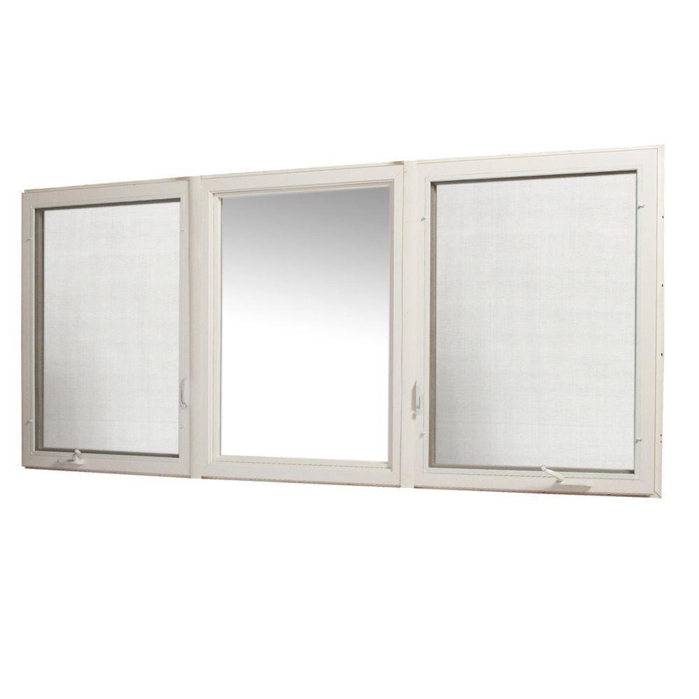 107 in. x 48 in. Vinyl Casement Window with Screen -