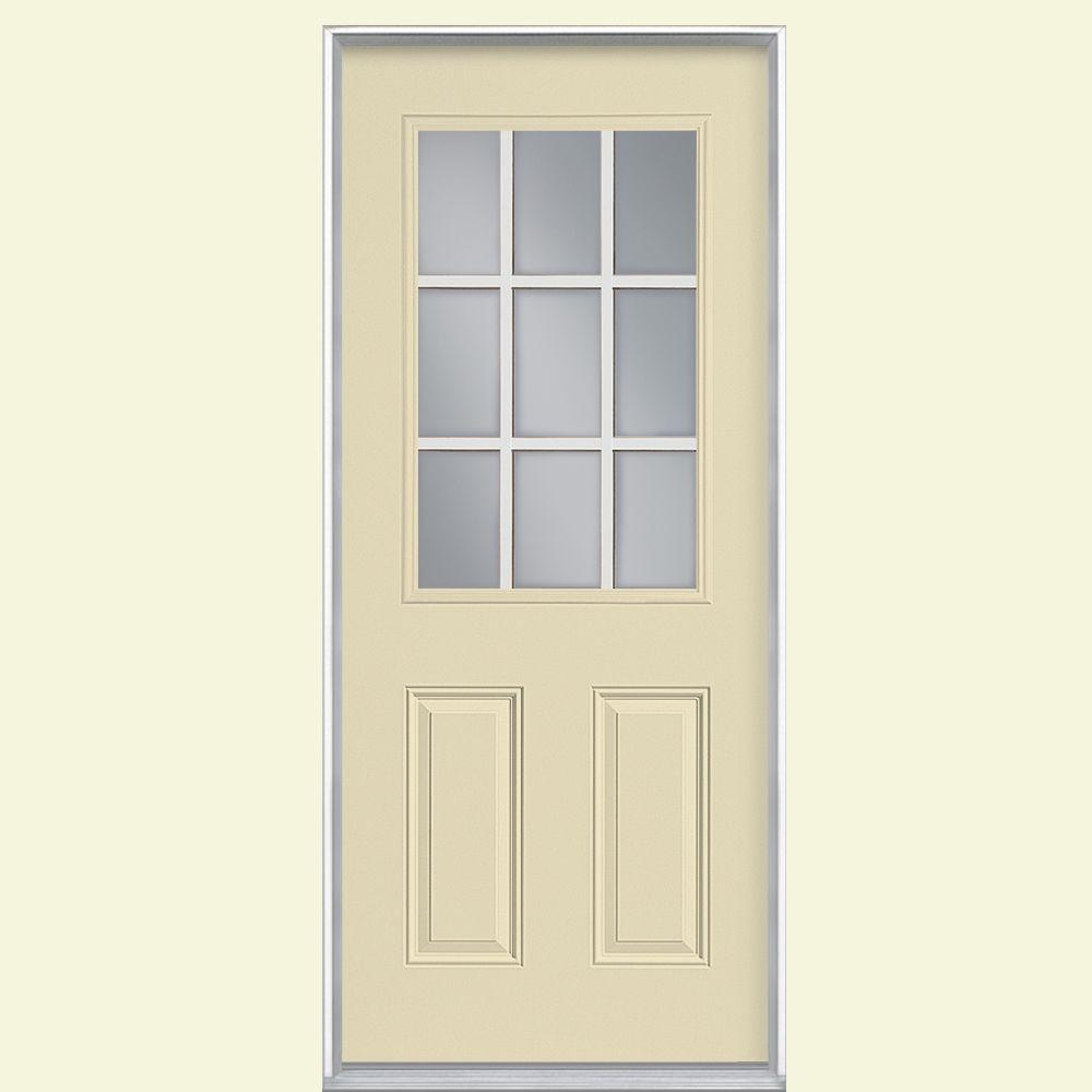 Masonite 36 in. x 80 in. 9 Lite Painted Smooth Fiberglass Prehung Front Door with No Brickmold