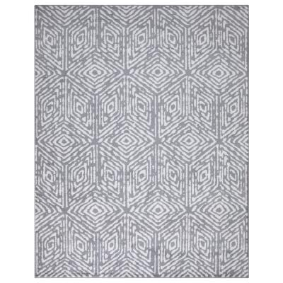 Jasmin Collection Cubes Design Gray and Ivory 7 ft. 8 in. x 9 ft. 8 in. Area Rug
