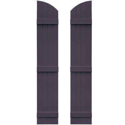 14 in. x 81 in. Board-N-Batten Shutters Pair, 4 Boards Joined with Arch Top #285 Plum