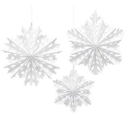 16 in. Paper Snowflake Fan Decorating Kit (3-Count, 2-Pack)
