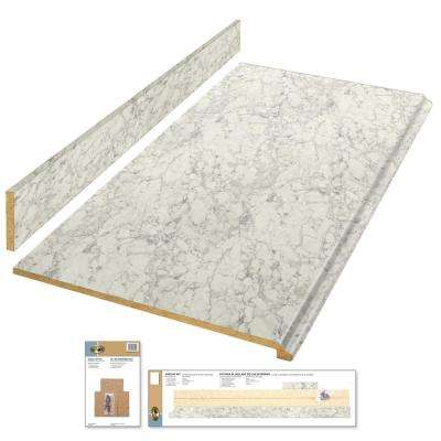 8 ft. Laminate Countertop Kit in Marmo Bianco with Premium Textured Gloss Finish and Valencia Edge
