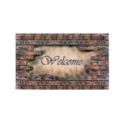 Welcome Bricks 18 in. x 30 in. Rubber Entrance Mat
