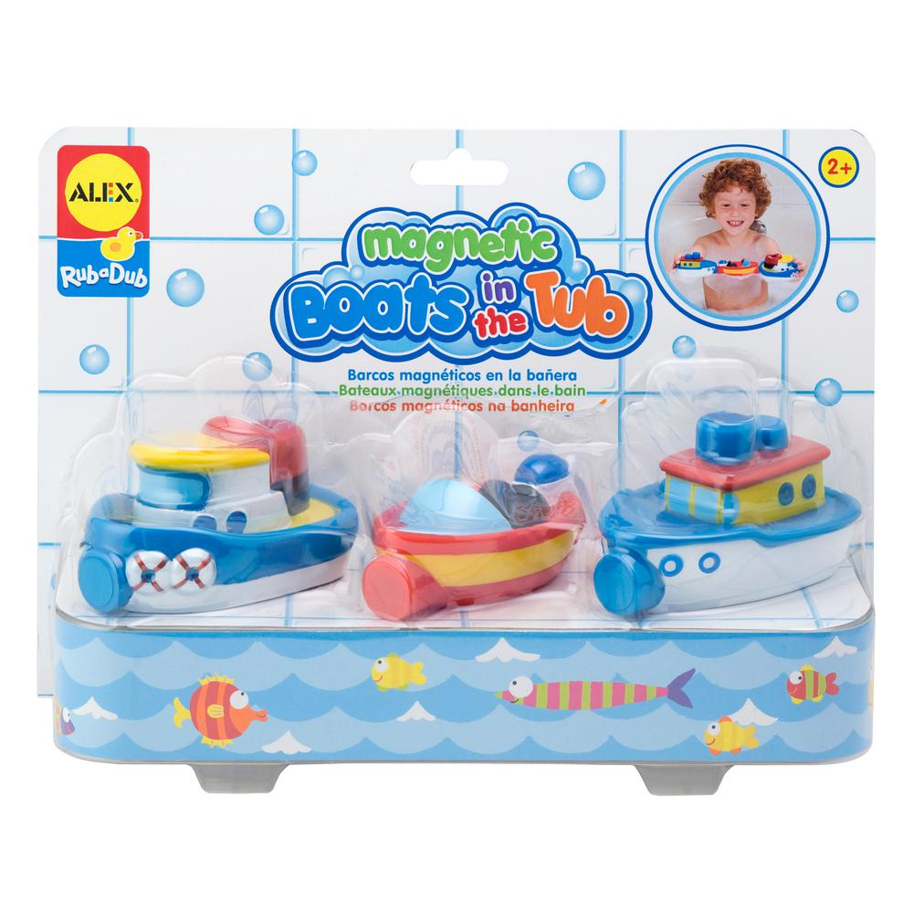 Alex Toys Rub a Dub Magnetic Boats in the Tub ALEX Toys Rub a Dub Magnetic Boats in the Tub includes 3 soft vinyl boats that have magnetic connectors to dock them together. It comes with a tugboat, fishing boat and speedboat. Compatible with other magnetic tub toys, so you can link your boats to ducks or monsters. Recommended for children 2 years of age and older.