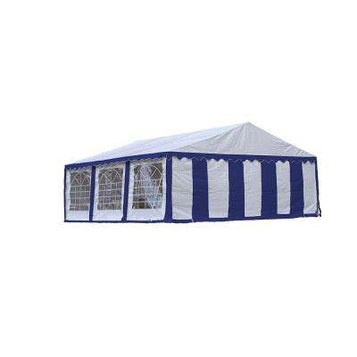 20 ft. x 20 ft. Blue/White Party Tent with Enclosure Kit/Windows