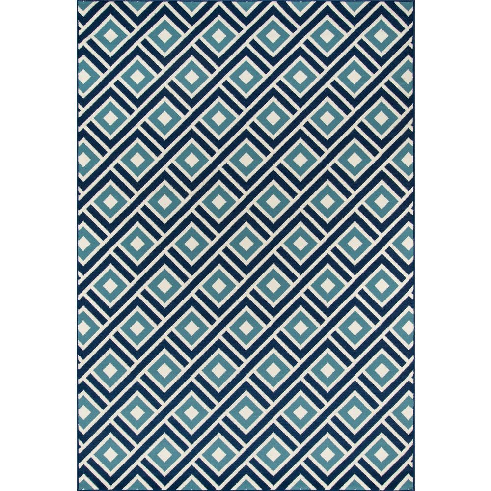 Baja Blocks Blue 5 ft. 3 in. x 7 ft. 6 in. Indoor/Outdoor Area Rug