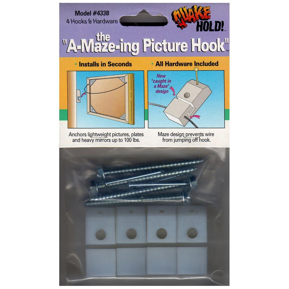 QuakeHOLD! A-Maze-ing Picture Hooks (4-Pack)