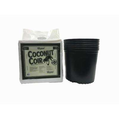 3 Gal. Plastic Nursery Pots 11.36 l with Coconut Coir Growing Media (7-Pack)