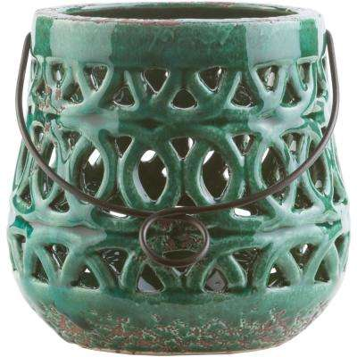 Jett 5.5 in. Dark Green Ceramic Lantern