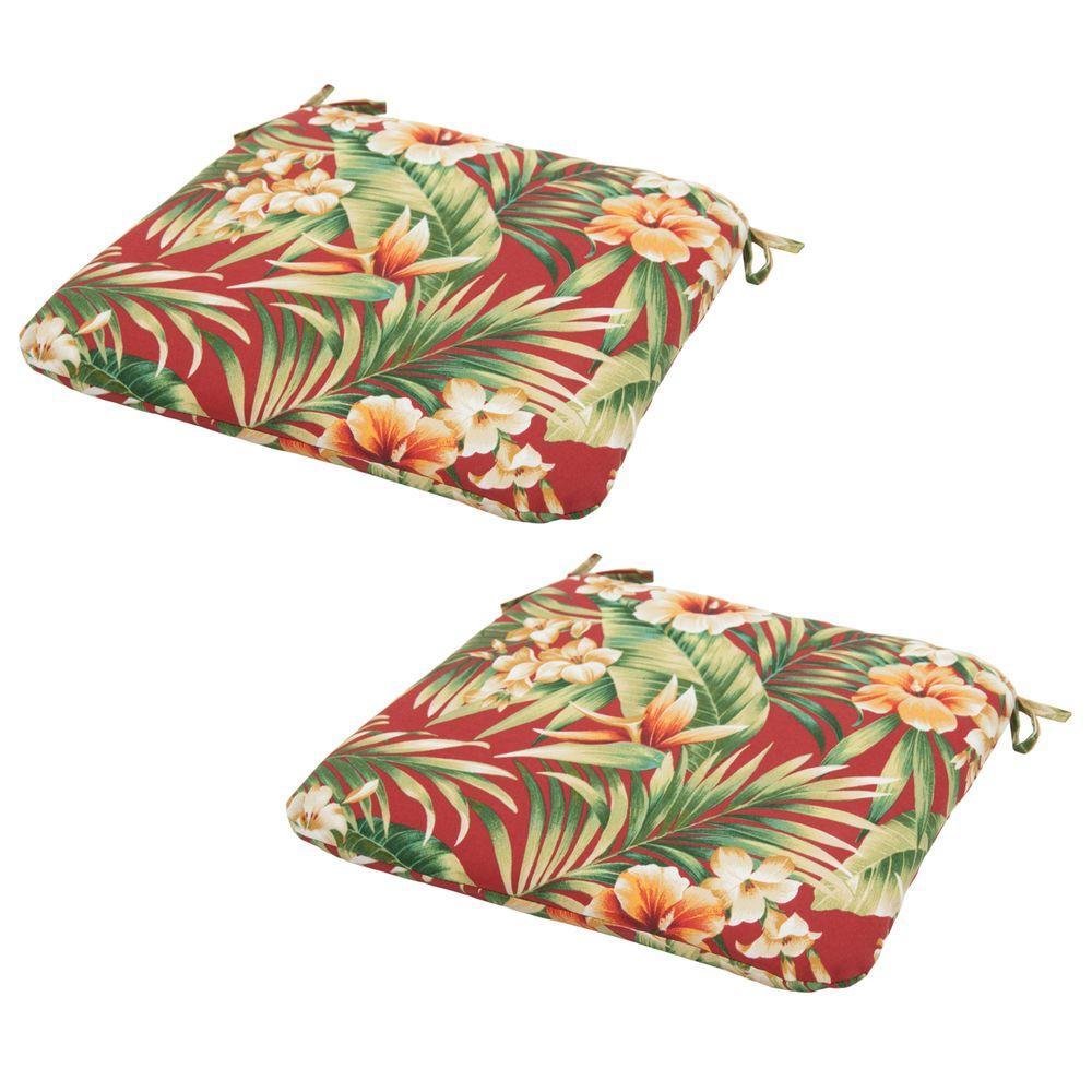 Hampton Bay Cypress Chili Outdoor Seat Cushion (2-Pack)