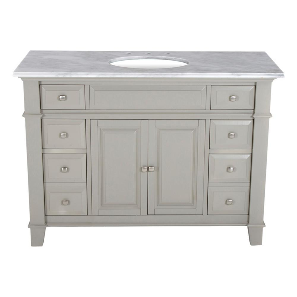 Westport Bay 48 in. W x 23 in. D Solid Hardwood Single Vanity in Dove Gray with Solid Marble Top in Sierra White