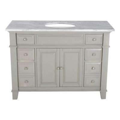 48 in. W x 23 in. D Solid Hardwood Single Vanity in Dove Gray with Solid Marble Top in Sierra White