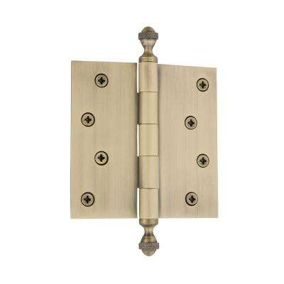 4 in. Acorn Tip Residential Hinge with Square Corners in Vintage Brass