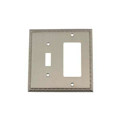 Egg and Dart Switch Plate with Toggle and Rocker in Satin Nickel