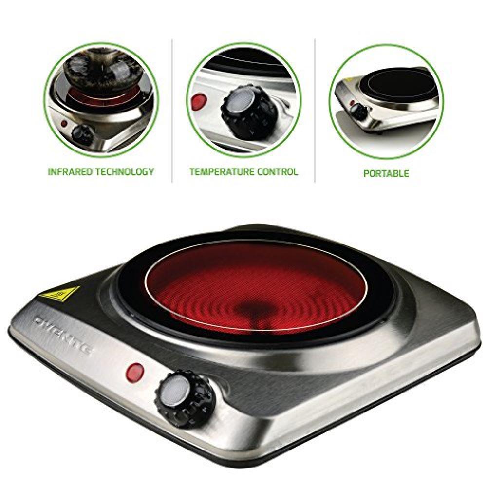 Single Burner, 7 in., Silver Hot Plate, Ceramic Glass & Stainless Steel, 1000-Watt (BGI101S)