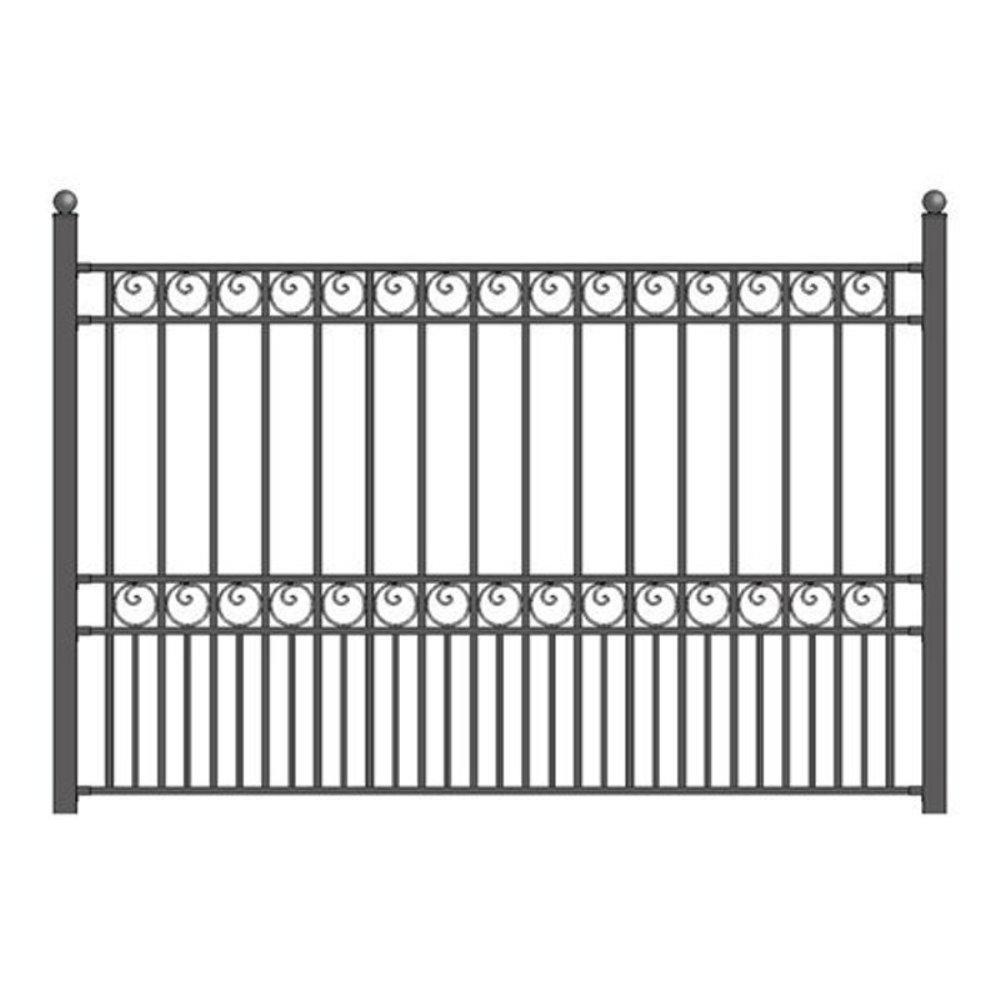 Paris Style 5 ft. x 8 ft. Black Iron Fence Panel