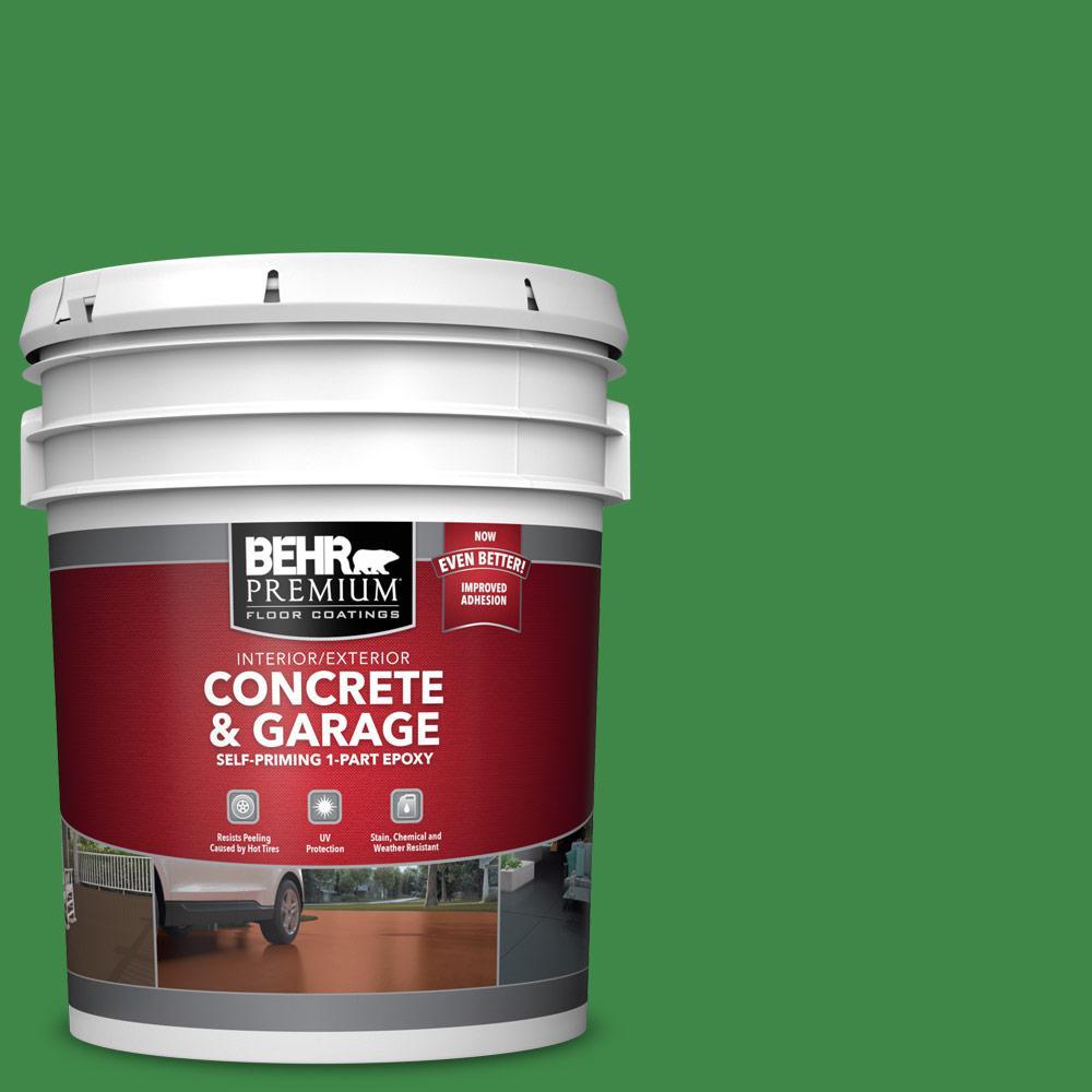 5 gal. #P400-7 Paradise of Greenery 1-Part Epoxy Satin Interior/Exterior Concrete and Garage Floor Paint