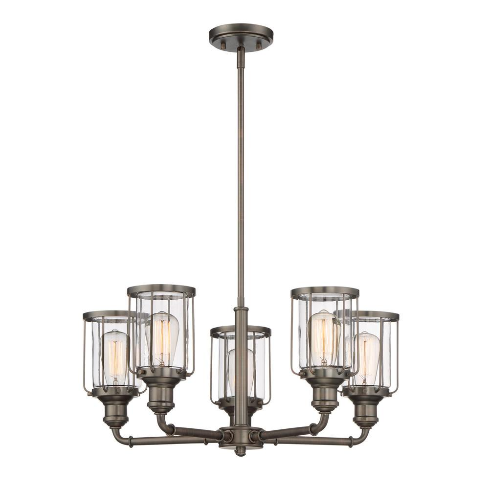 Designers Fountain Anson 5-Light Satin Copper Bronze Interior Chandelier with Clear Glass Shade