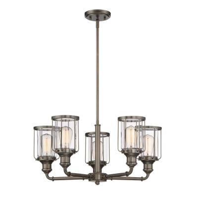 Anson 5-Light Satin Copper Bronze Interior Chandelier with Clear Glass Shade
