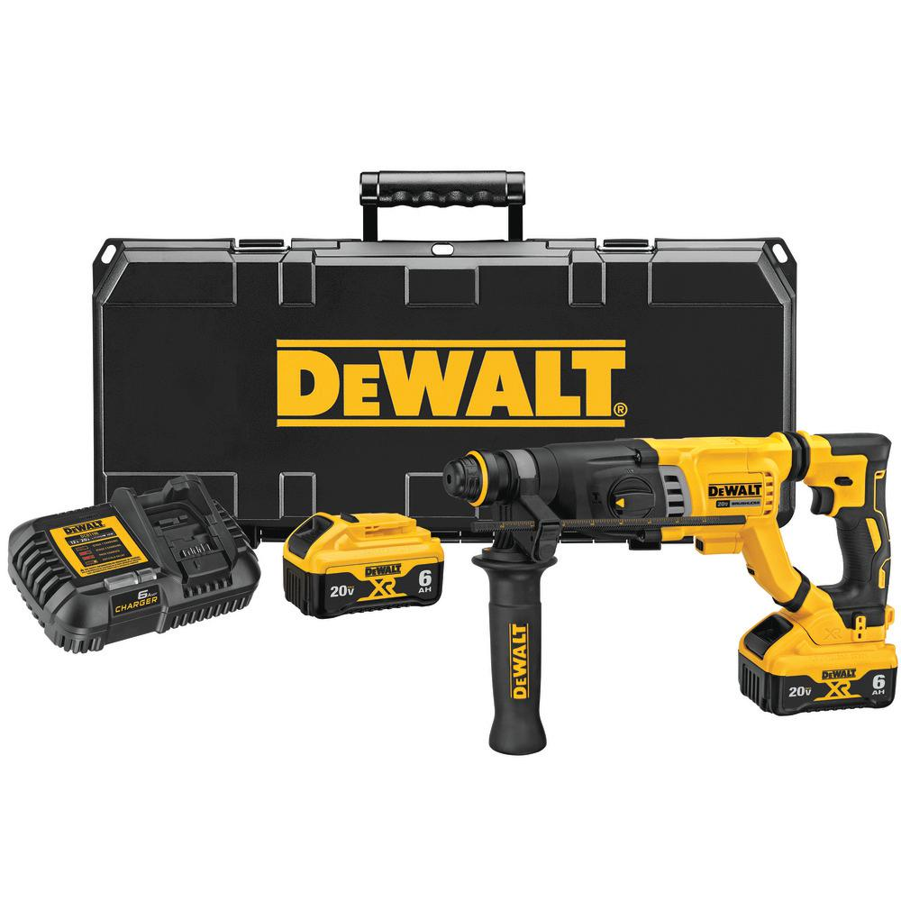 DEWALT 20-Volt MAX Lithium-Ion Brushless Cordless 1-1/8 inch SDS Plus Rotary Hammer Kit w/(2) 6.0 Ah Batteries, Charger and Case
